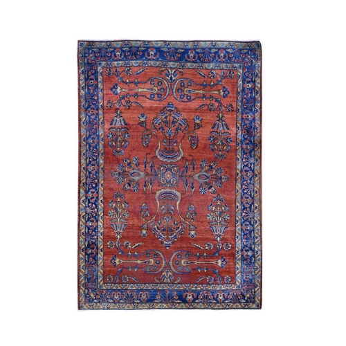 Red Antique Persian Mohajeran Sarouk Some Wear Soft And Clean Hand Knotted Oriental Rug