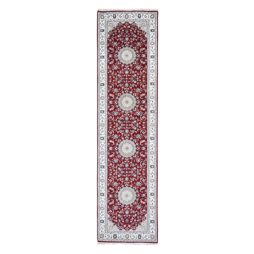 Red Nain Runner Wool and Silk 250 KPSI Hand Knotted Oriental Rug
