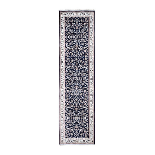 Wool And Silk 250 Kpsi Navy Blue All Over Design Nain Runner Hand-Knotted Oriental Rug