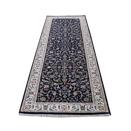 Navy Blue Wool And Silk 250 Kpsi All Over Design Nain Runner Hand-Knotted Oriental Rug