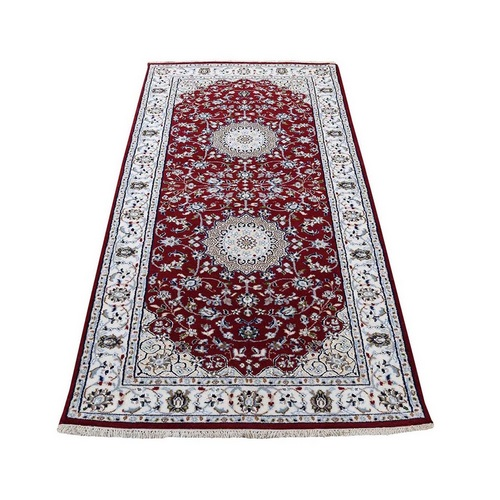 Red Nain Wool and Silk 250 KPSI Hand Knotted Oriental Runner Rug