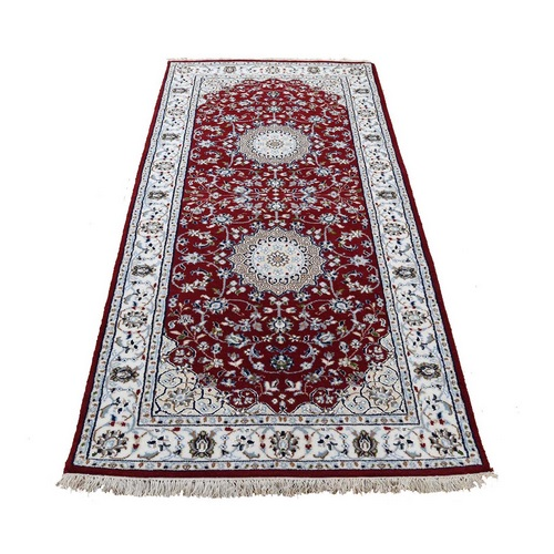 Wool And Silk 250 KPSI Red Nain Hand-Knotted Oriental Runner Rug