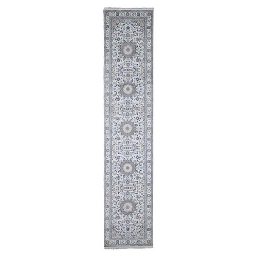 Ivory Wool and Silk 250 KPSI Nain Hand Knotted Runner Oriental Rug