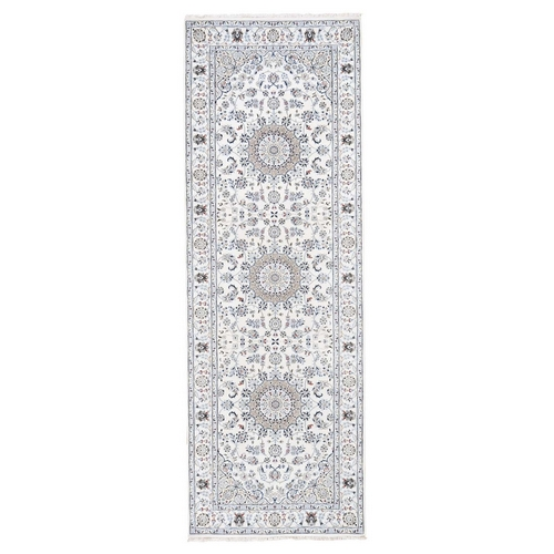 Wool And Silk 250 KPSI Ivory Nain Hand-Knotted Oriental Runner