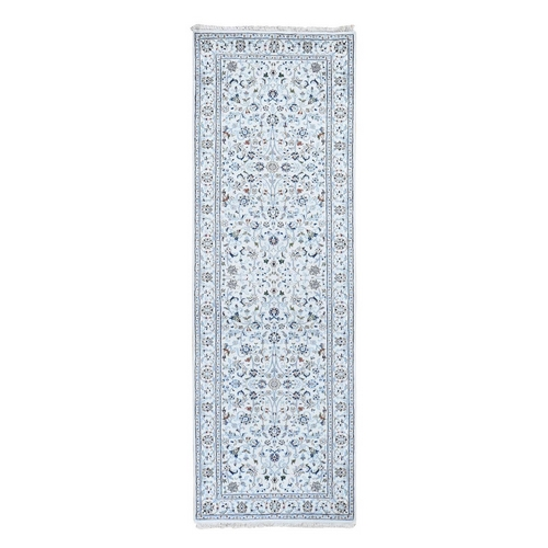 Wool And Silk 250 Kpsi Ivory All Over Design Nain Runner Hand-Knotted Oriental Rug
