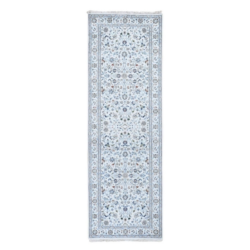 Ivory Wool And Silk 250 Kpsi All Over Design Nain Runner Hand-Knotted Oriental Rug