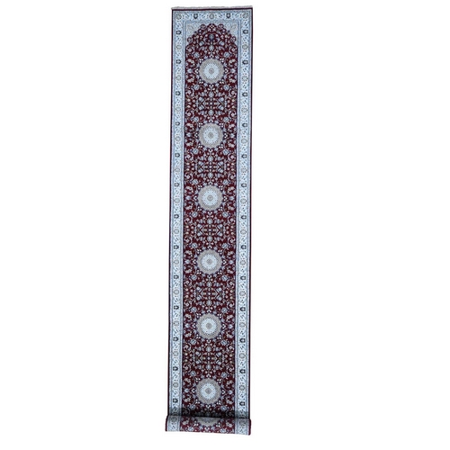 Wool And Silk 250 KPSI Red Nain XL Runner Hand-Knotted Oriental Rug