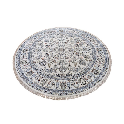 Round Wool And Silk 250 Kpsi Ivory All Over Design Nain Hand-Knotted Oriental Rug