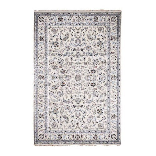 Ivory Wool And Silk 250 Kpsi All Over Design Nain Hand-Knotted Oriental Rug