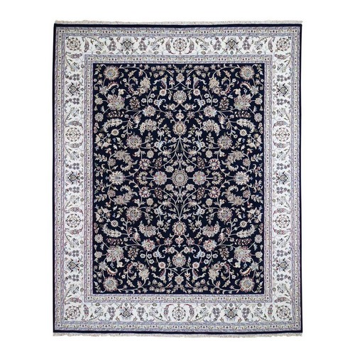Wool And Silk 250 Kpsi Navy Blue All Over Design Nain Hand-Knotted Oriental Rug