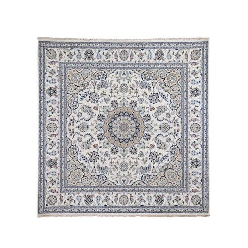 Wool And Silk 250 KPSI Ivory Nain Hand-Knotted Oriental Square Rug