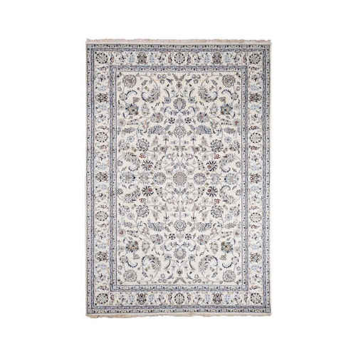Wool And Silk 250 Kpsi Ivory All Over Design Nain Hand-Knotted Oriental Rug