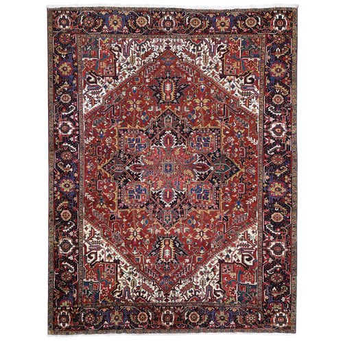Colorful Oversized Persian Heriz, Clean, Thick and Plush Pure Wool Hand Knotted Oriental