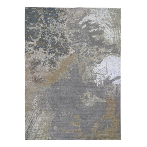 Gray Abstract Design Wool And Silk Hi-Low Pile Denser Weave Hand Knotted Oriental