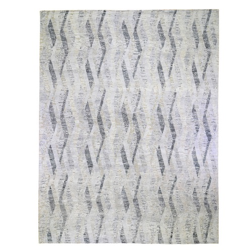 DIMENSIONAL CURTAINS Gray Oversized Silk With Textured Wool Hand Knotted Oriental