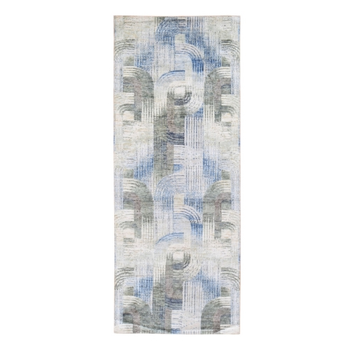 THE INTERTWINED PASSAGE, Hand Knotted Wide Runner Silk with Textured Wool Oriental