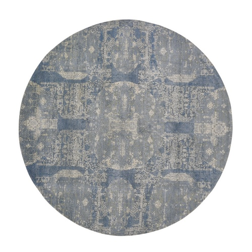 Round Blue Wool And Pure Silk Jewellery Design Hand Knotted Oriental Rug