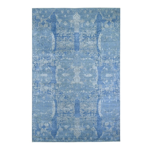 Blue Wool And Pure Silk Jewellery Design Hand Knotted Oriental Rug