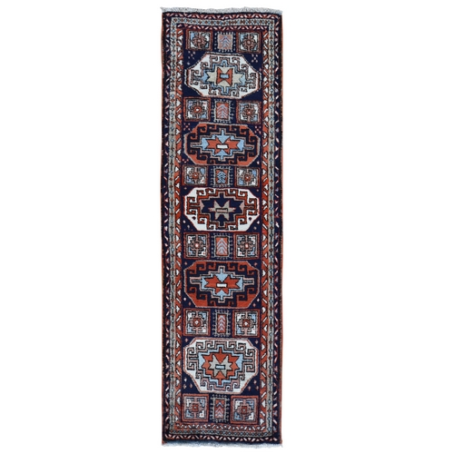 Navy Blue Vintage Turkish Runner Village Full Pile Clean with Caucasian Design Hand Knotted Oriental
