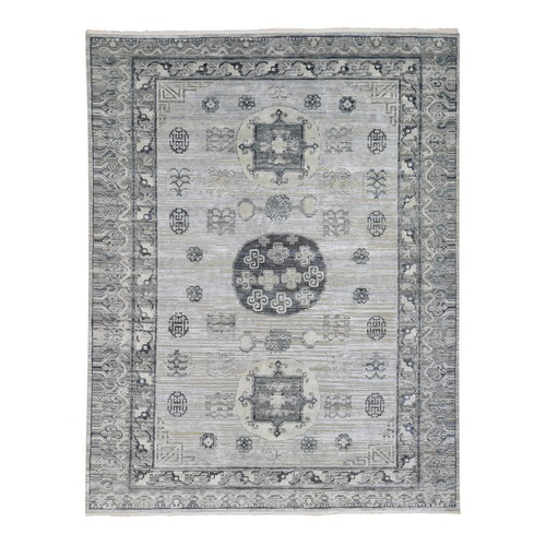 Pure Silk with Textured Wool Khotan Design Hand Knotted Oriental Rug