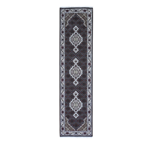 Black Fish Design Tabriz Mahi Wool and Silk Hand Knotted Oriental Rug