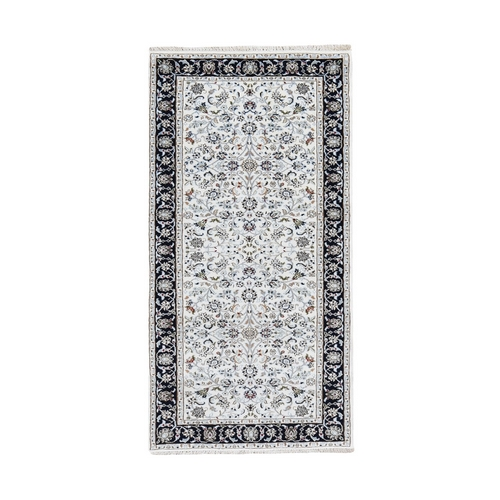Ivory All Over Design Wool and Silk 250 KPSI Nain Hand Knotted Runner Oriental Rug