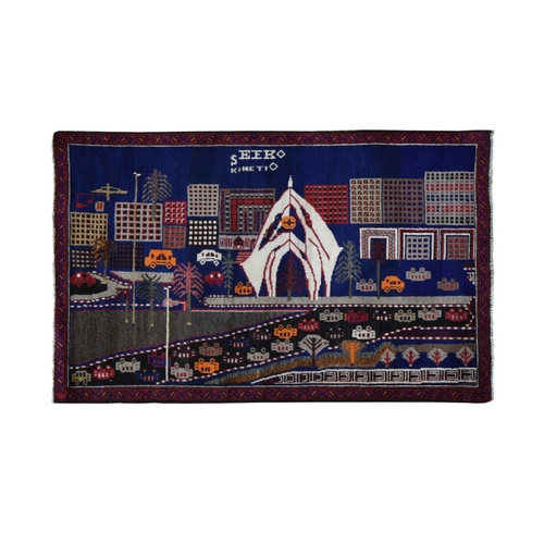 Pictorial Afghan Baluch with Cars and Buildings Natural Wool Hand Knotted Oriental