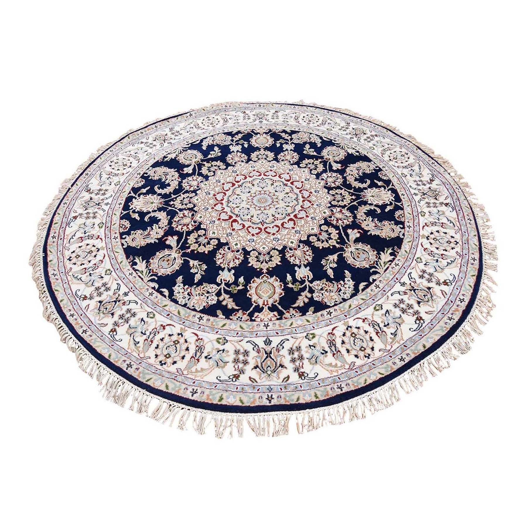Blue Nain Wool and Silk 250 KPSI Hand Knotted Round Oriental Rug