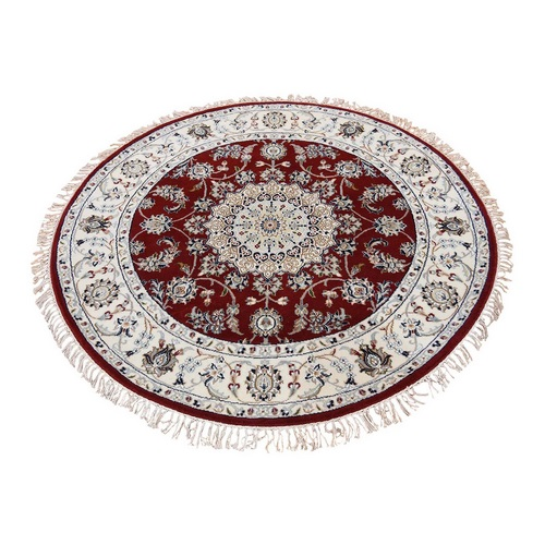 Red Wool and Silk 250 KPSI Nain Hand Knotted Round Oriental