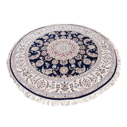 Nain Wool and Silk 250 KPSI Hand Knotted Round Navy Blue Oriental Rug