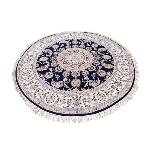 Nain Wool and Silk 250 KPSI Navy Blue Hand Knotted Round Oriental Rug