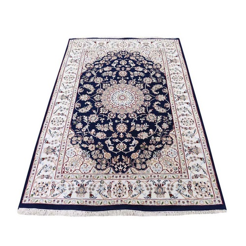 Nain Wool and Silk 250 KPSI Navy Blue Hand Knotted Oriental Rug