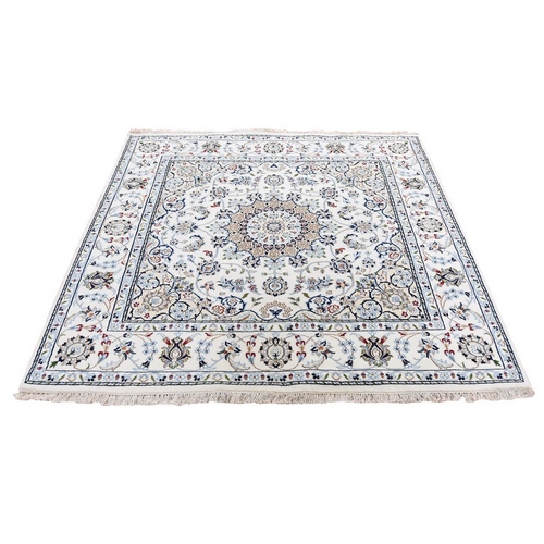 Ivory Hand Knotted 250 KPSI Nain Wool and Silk Square Oriental Rug