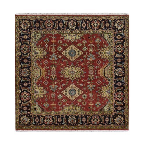 Red Karajeh Design Pure Wool Square Hand Knotted Oriental
