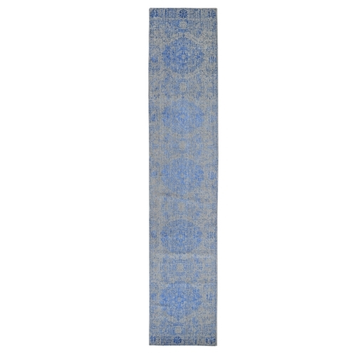 Blue Wool and Silk Mamluk Design Jacquard Hand Loomed Runner Oriental Rug