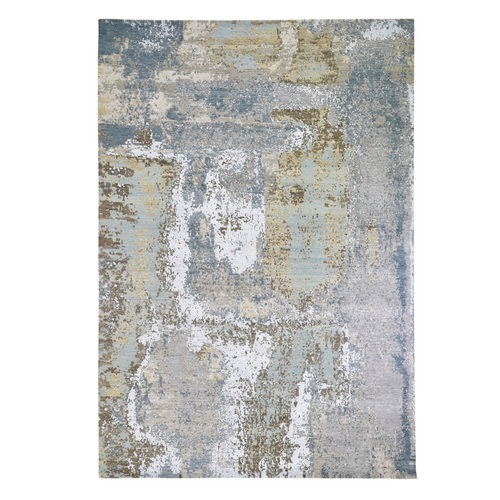 Gray Abstract Design Wool and Silk Denser Weave Hi-Low Pile Hand Knotted Oriental