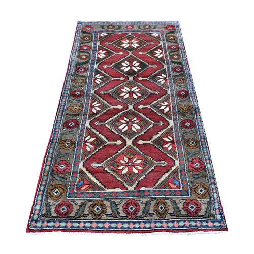 New Persian Hamadan with Geometric Medallions Design Organic Wool Hand Knotted Runner Oriental
