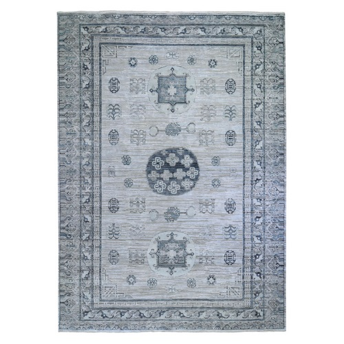Gray Pure Silk with Textured Wool Khotan Design Hand Knotted Oriental Rug