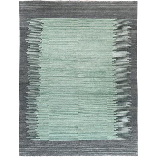 Light Green With Nomadic Design Flat Weave Kilim Organic Wool Reversible Hand Woven Oriental Rug