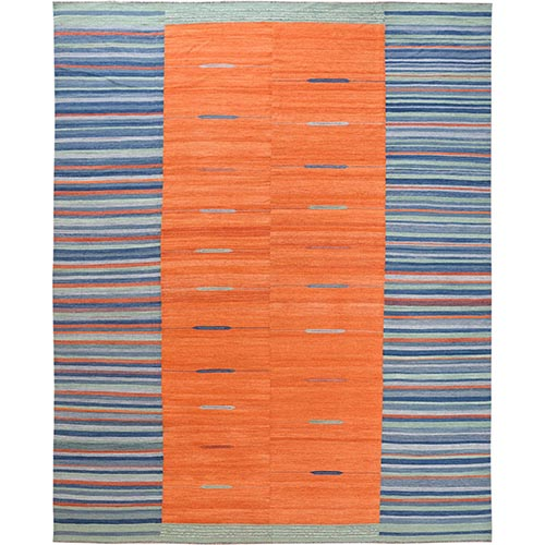 Organic Wool Sunburst And Stripes Design Flat Weave Kilim Reversible Hand Woven Oriental Oversize