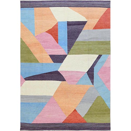 THE CANDY STORE Handspun Wool Flat Weave Kilim Hand Woven Reversible Oriental Rug