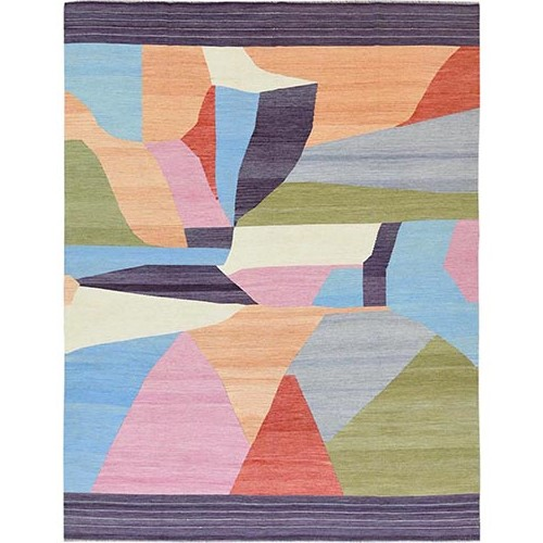 THE CANDY STORE Flat Weave Kilim Hand Woven Natural Wool Reversible Oriental Rug