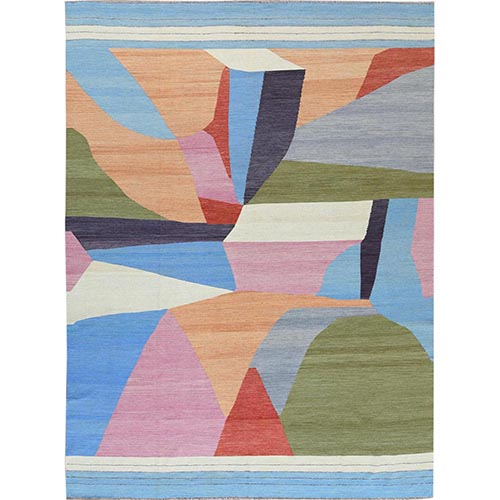 THE CANDY STORE Flat Weave Kilim Hand Woven Handspun Wool Reversible Oriental Rug