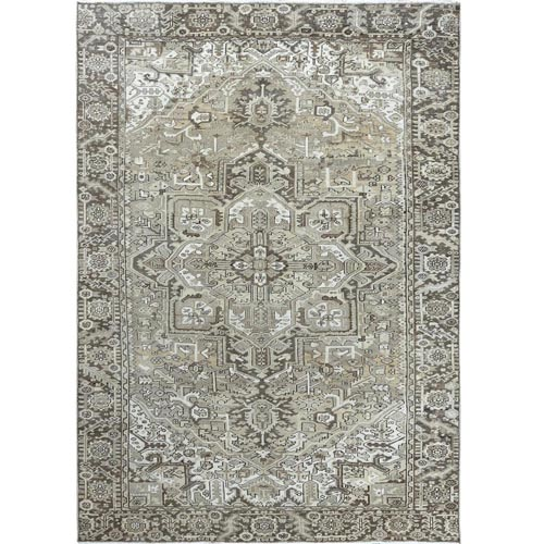 Silver Wash Gray Old Antique Persian Heriz Worn Down Clean Natural Wool Hand Knotted Oriental