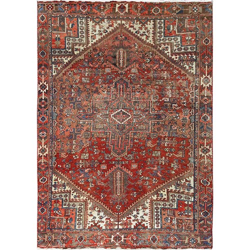 Distressed Red Persian Heriz Old Natural Wool Abrash Hand Knotted Oriental