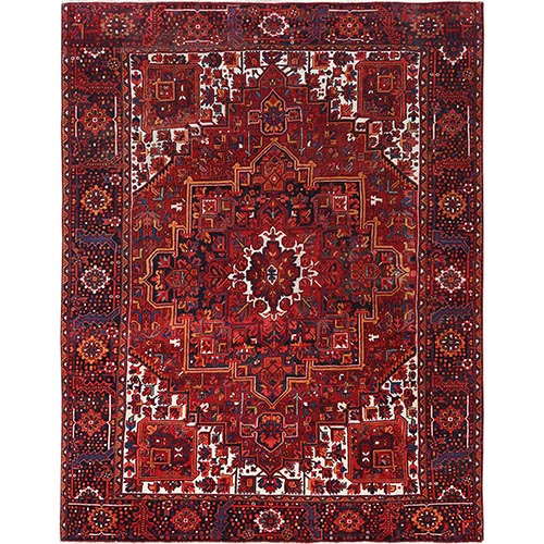 Semi Antique Red Persian Heriz Worn Down Hand Knotted Pure Wool Oriental