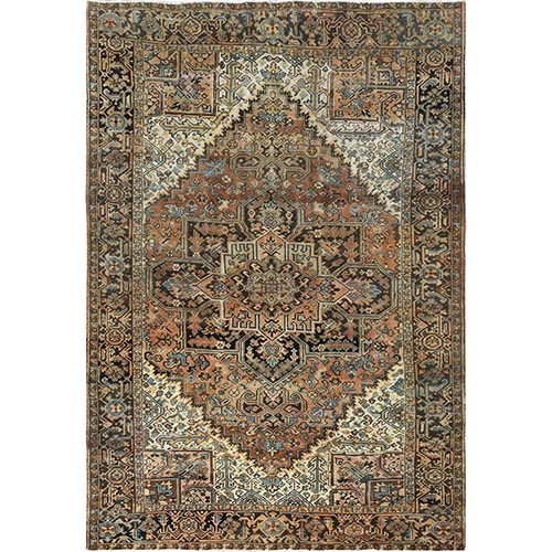Semi Antique Brown Persian Heriz Tea Wash Distressed Organic Wool Clean Hand Knotted Oriental