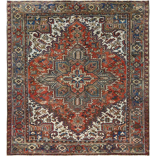 Red Persian Heriz Old Distressed Pure Wool Hand Knotted Oriental Square