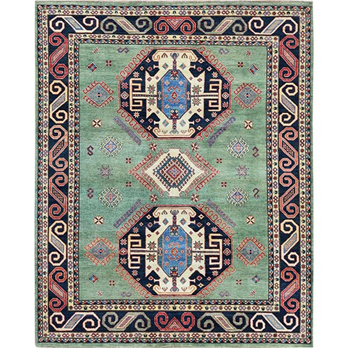 Caucasian Design Special Kazak Light Green Natural Wool Hand Knotted Oriental