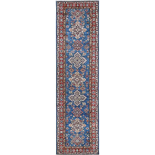 Blue Afghan Super Kazak Natural Wool Hand Knotted Runner Oriental